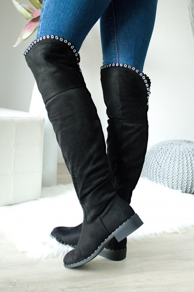 2f90903778 Čierne čižmy nad kolená Violet ...