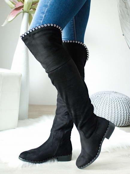 624a088800 Čierne čižmy nad kolená Violet