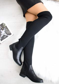 73b9e46895 Čierne čižmy nad kolená Mayra
